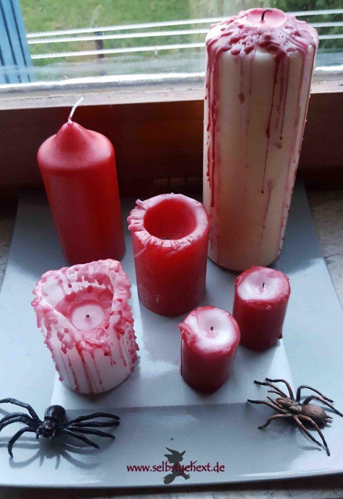 halloween deko selber machen blutende kerzen einfach selbstgehext. Black Bedroom Furniture Sets. Home Design Ideas